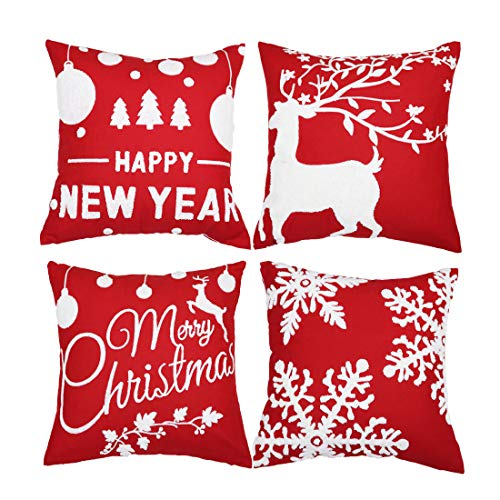 Embroidery Red Christmas Pillow Covers
