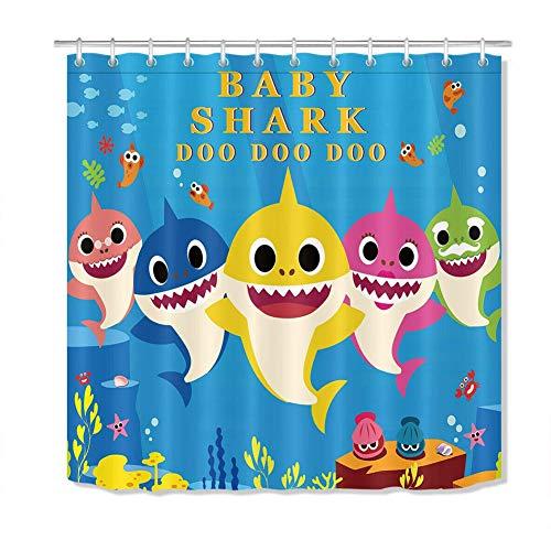 ZZZdz Baby haaien spelen. Douchegordijn. 180 x 180 cm. 12 vrije haken. Woondecoratie. 3D Hd Afdrukken. Eenvoudig te reinigen. Accessoires voor de badkamer.