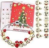 Calendrier de l'Avent Eprhay - Bijoux - Calendrier de l'Avent mignon - Calendrier de l'Avent à faire soi-même - 24 jours - Breloques Emoji - Perles Boîte surprise pour fille et femme