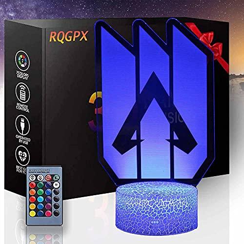Lámpara de ilusión 3D APEX Legends I Gaming Gifts for Boys 16 colores regulable USB Powered Control táctil con control remoto, regalos creativos para niños de 10 años