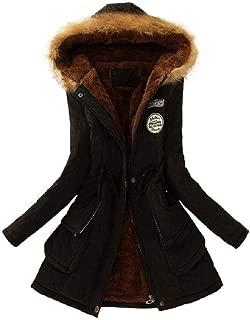 HGWXX7 Women's Winter Warm Long Coat Faux Fur Collar Slim Hooded Jacket Parkas Outwear