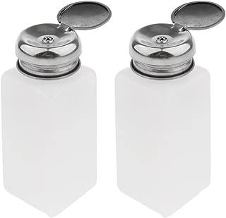 2pcs Push Down Empty Bottle Dispenser for Nail Polish Remover, Pump Dispensers Empty Plastic Bottle for Lip Eye Makeup Remover - White, 250ml