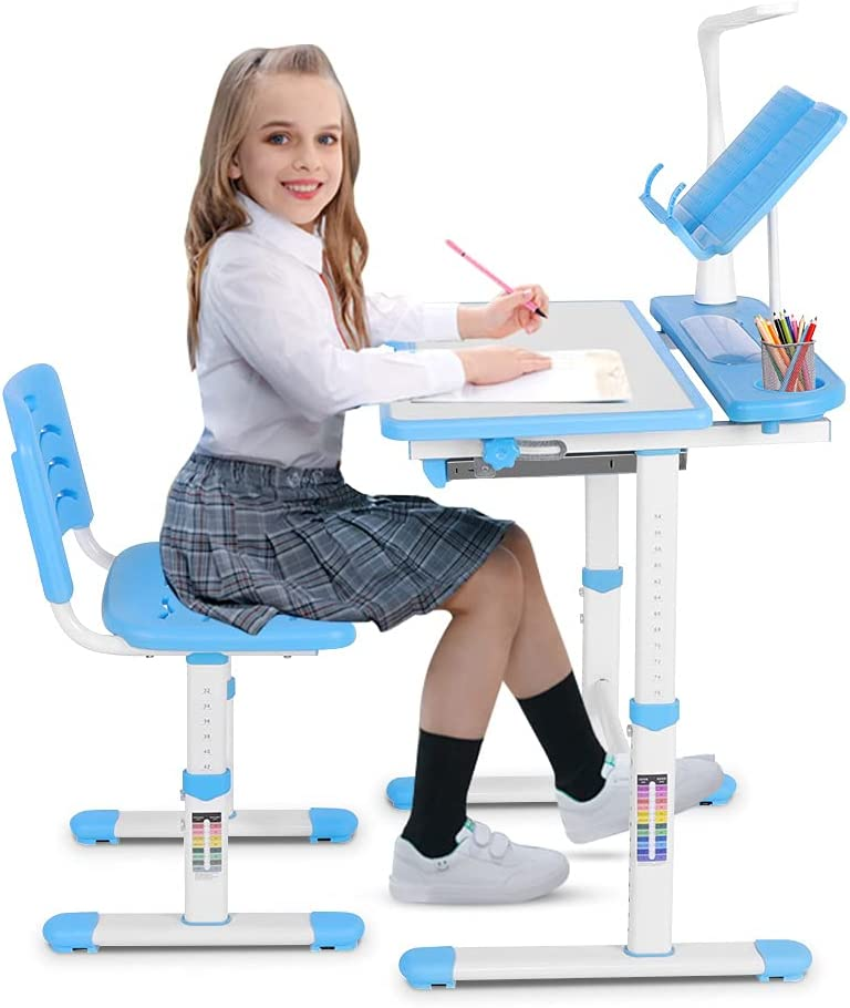 Kids Study Desk and Chair Chil Adjustable Jacksonville Mall Desks Max 41% OFF Height Set