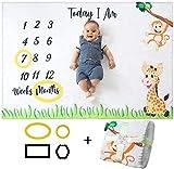 Baby Monats Decke für Jungen und Mädchen Unisex | Baby Meilenstein Decke Fotodecke | Babydecke mit Monat als Geschenk zur Geburt | Babys Meilensteine in Wachstum & Alter Verfolgen | Weich...
