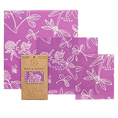 Bee's Wrap Assorted 3 Pack, Eco Friendly Reusable Food Wraps, Sustainable Plastic Free Food Storage, Clover Print - 1 Small, 1 Medium, 1 Large