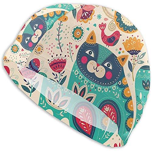 Elxf Art coloré avec de Beaux Papillons de Chat et des Fleurs Bonnets de Bain pour Adultes, Bonnet...