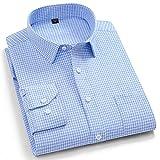 Camisas Manga Larga Hombre,Camisa A Cuadros De Algodón Camisas Casuales Camisas Clásicas A Cuadros Azul Cielo para Hombre Camisas Regulares con Botones De Bolsillo Padre Nov