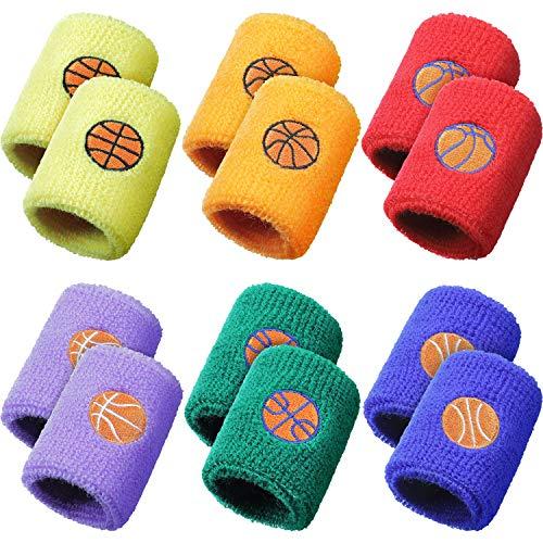 24 Stück Sport Armband für Kinder, Schweißbänder Baumwolle Frottee Armband mit 6 Basketball Motiven für Kraftsport, Party Artikel für Sportler, 6 Farben