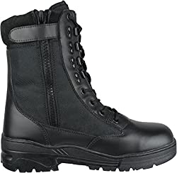 Combat safety boots with side zip opener and safety toe