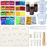 Epoxy Resin Casting Starter Kit - Resin Jewelry Making Kit - Art Supplies Resin Charms - Molds - Dyes - Glitters - Tools - Resin Jewelry Supplies