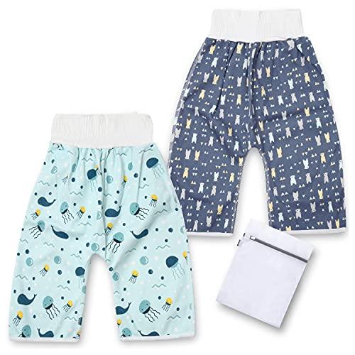 [PICOLOGIO] おねしょ ズボン おねしょ対策 ズボンタイプ 腹巻付き 寝冷え対策 綿 防水 通気 男の子 女の子 2枚入 3-5歳 ウエスト40〜60cm 洗濯ネット付き (セットA)