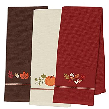 DII Cotton Thanksgiving Fall Holiday Decorative Dish Towels, 18x28 , Set of 3-Harvest Pumpkin