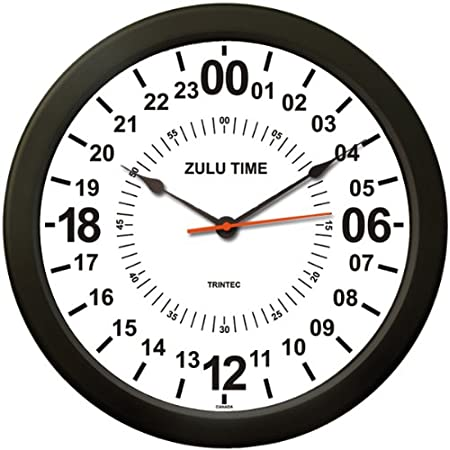 Amazon Com Trintec 24 Hour Military Time Swl Zulu Time 24hr Wall Clock 10 Home Kitchen