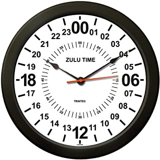 Trintec 24 HOUR MILITARY TIME SWL ZULU TIME 24HR WALL CLOCK 10