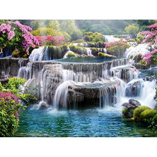 DIY Diamond Painting,by Number Kits Crafts & Sewing Cross Stitch,Wall Stickers for Living Room Decoration Flower and Waterfall 15.7x11.8 in by UM UPMALL