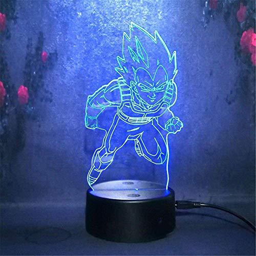 Luz nocturna LED 3D, lámpara de ilusión, 16 cambio de color, lámpara de decoración Super Saiyan para niños, regalos de vacaciones, regalo de Navidad, cumpleaños, ventilador de juego