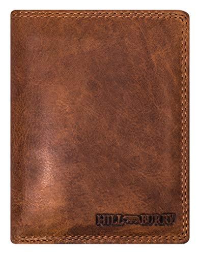 Hill Burry Herren Ledergeldbörse | Geldbörse aus echtem Leder | Echtleder Männer Geldbeutel | schlanke Vintage Brieftasche | Großes Portemonnaie mit RFID-Schutz - Hochformat (Braun)