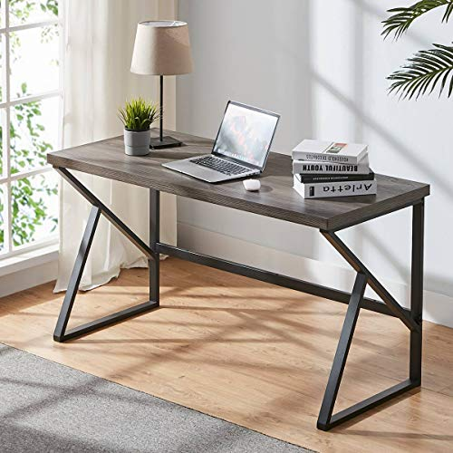 HSH Industrial Home Office Desk, Metal and Wood Computer Desk, Rustic Vintage Soho Study Writing Table, Grey 55 inch