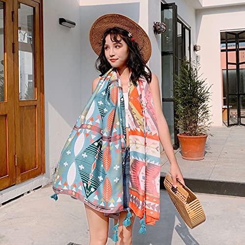 Vcnhln Toalla de Playa de Viaje de Gran tamaño Estampado de Plantas Bufanda étnica sombrilla de Mujer Manta Tejida de algodón Retro Cashmere Yoga