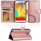 Arae Wallet Case Compatible for Samsung Galaxy Note 3 with Kickstand and Flip Cover - Rose Gold