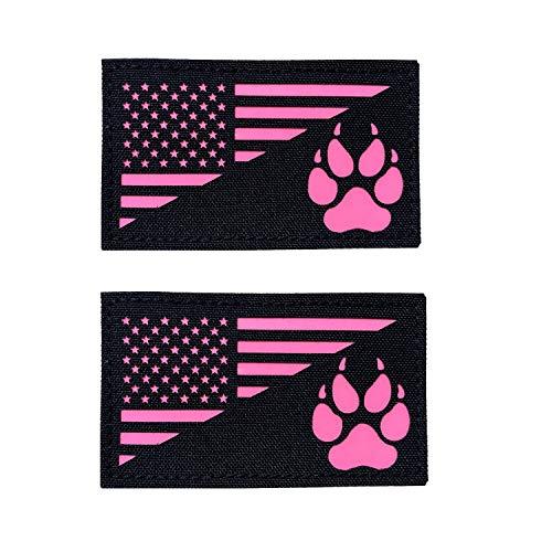 2 x 8,9 cm Schwarz Pink leuchtet im Dunkeln USA-Flagge mit Tracker Pfotenabdrücken, Hakenverschluss auf der Rückseite 2er-Set