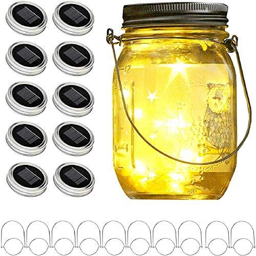 Upgraded Solar Mason Jar Lid Lights, 10 Pack 30...