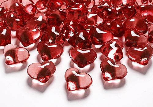 30 Stück Deko-Herzen 21mm Dekosteine Streudeko Tischdeko (Rot-Herzen)