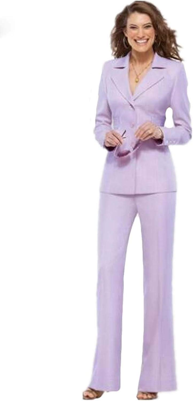 Xixi House Lavender Women Pantsuits Work Pant Suits OL 2 Piece Sets Women Blazer(Jacket+Pant Suit)