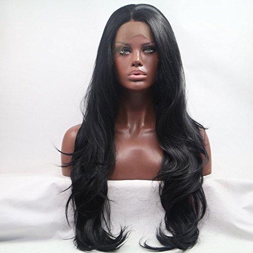Sylvia 1B # Negro Natural Pelo Largo Onda Natural Peluca Peluca Lace Front sintético resistente al calor Cable de pelo para las mujeres negras