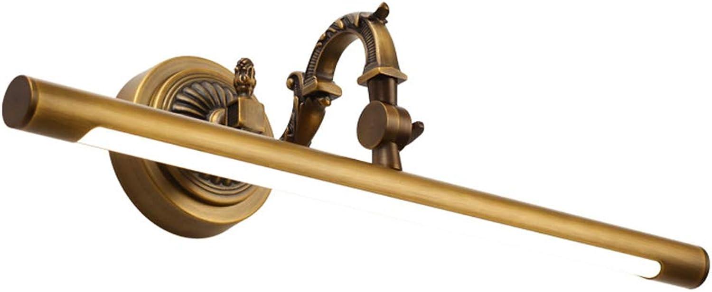 WYRX LED Brass Mirror Light Modern Simple Waterproof Anti-Fog Bathroom Mirror Headlights Mirror Front Lamp (Natural Light) 45cm
