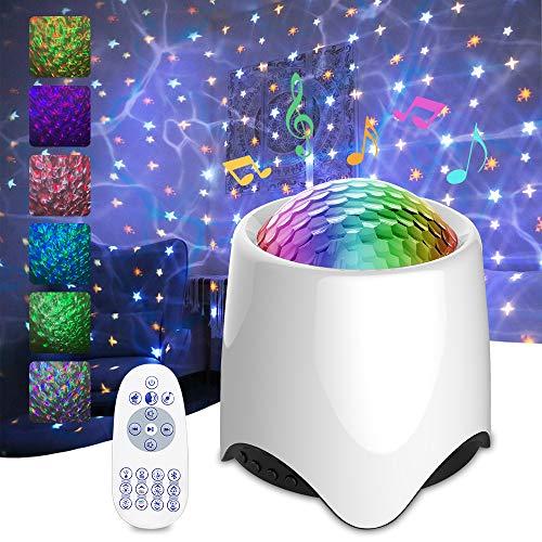 EliveSpm LED Projektor Sternenhimmel Lampe, Kinder Nachtlicht Baby Stern Lampe mit Fernbedienung/Bluetooth-Lautsprecher und Sternenstern/beruhigendes weißes Rauschen für Party Geburtstag