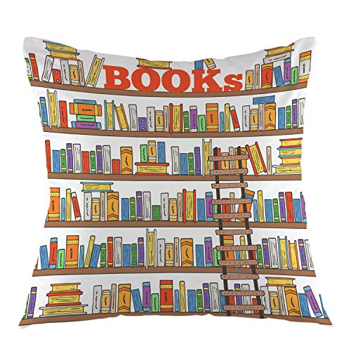 oFloral Book Pillow Case Books Shelves Ladder in Library Store Reading Club Doodle Style Throw Pillow Cover Square Cushion Case for Sofa Couch Car Bedroom Living Room Home Decorative 18
