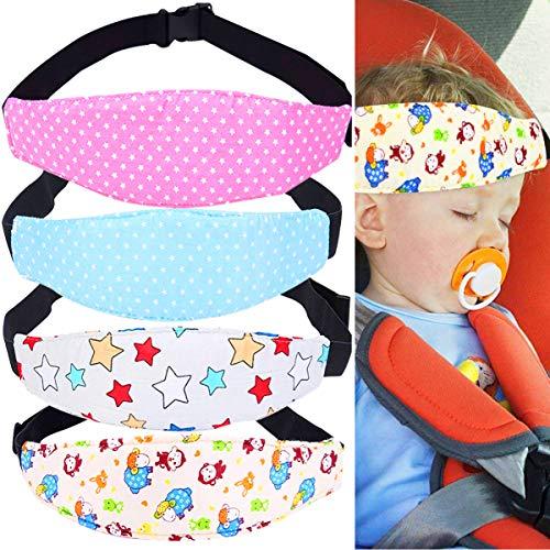 Biluer Baby Autositz Kopfband, 4PCS Einstellbare Kindersitz Befestigung Kinderautositz Kopfstütze für Kinder Nackenstützen Autositz Befestigung Gurtschutz Hilfe Komfortable Safe Sleep Lösung