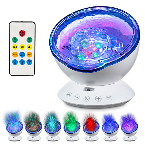 Abco Tech Top Ocean Wave Light Projector- Upgraded Remote Control 12 LED Ocean Wave Light W/7 Colors & Built-In Music Player- Multicolor Relaxing Ambiance In Bedroom Living Room, Ceiling, Kid's Room