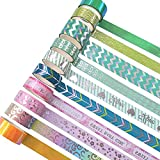 YUBX Washi Tape Set Masking Tape VSCO, cinta adhesiva decorativa multicolor para manualidades, bloc de notas, planificador, scrapbooking y embalaje