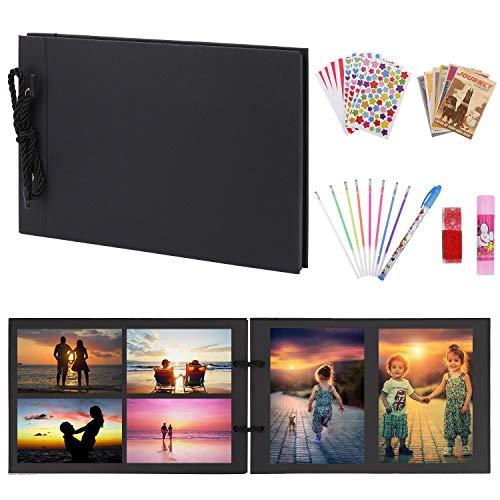 OUME DIY Album Photo Scrapbooking Livre Photo Mémoire Album Scrapbook Adventure Book 80 Pages avec DIY Accessoires (Album Noir)
