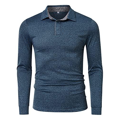 Maglietta a Maniche Lunghe da Uomo Slim Fit Fashion Risvolto Polo in Tinta Unita Maglietta Basic da Uomo Business Movement Maglietta da Golf Moda Casual S