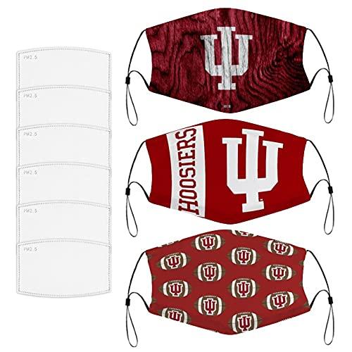 Indiana University Football Team Logo Face Mask Windproof DustProof Adjustable Earloop Washable For...