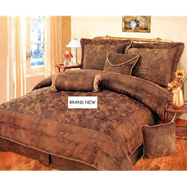 7 Pieces BROWN, BRONZE, and CAMEL Suede Comforter set CAL KING Bedding Set / Bed-in-a-bag Machine Washable