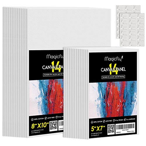 "Magicfly Painting Canvas Panels, 5x7"", 8x10"", Set of 28 with Label Stickers, 100% Cotton Canvas Boards for Painting, Canvas with MDF Board Core, for Acrylic Paint, Oil Paint Dry & Wet Art Media, etc"