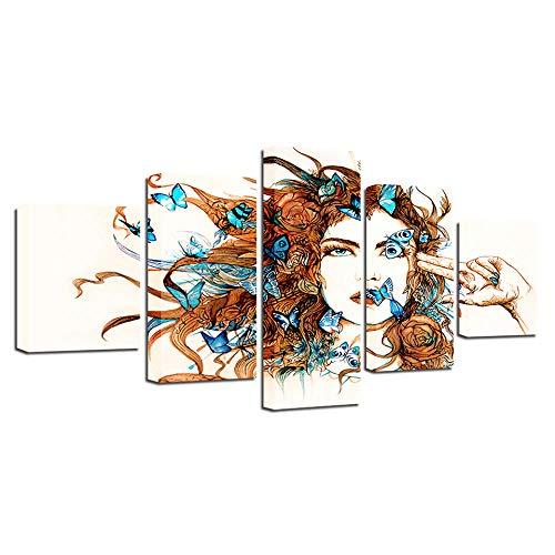 Wodes Arte De La Pared Lienzo Cartel De Impresión Hd 5 Unidades Acuarela Abstracta Niña Mariposa Pintura Salón Decoración Del Hogar Imagen 30 * 40 * 2 30 * 60 * 2 30 * 80Cm Sin Marco