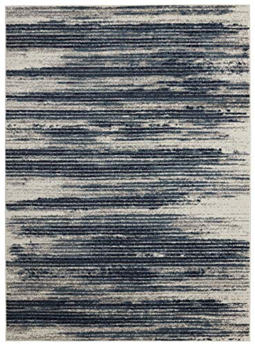Diagona Modern Stripes Area Rug, 92' W x 116' L, Ivory/Navy/Teal