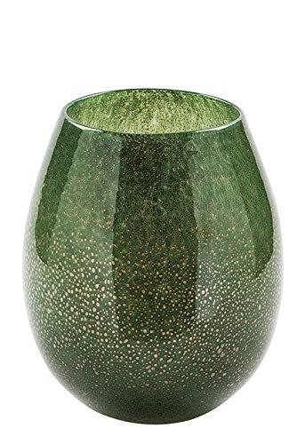 Fink Vase/Windlicht Silva - aus Glas grün mit Bläschen H 22,5 cm
