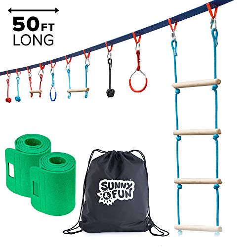 Read About Sunny & Fun Portable 50 Foot Ninja Slackline Monkey Bar & Ladder Kit – Kids Gym Swinging Obstacle Course Set – Warrior Training Bars, Fists, Gymnastics Rings – Carry Bag & Tree Protectors