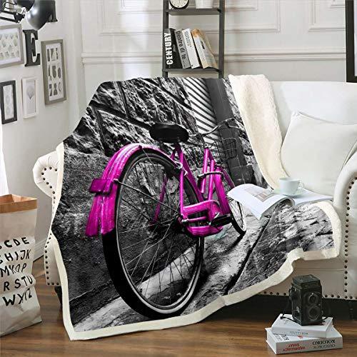 Homewish Manta para bicicleta, de felpa, de pared de ladrillo, para cama individual, 127 x 152 cm, para niños, niñas, adolescentes, manta de sherpa vintage, color morado