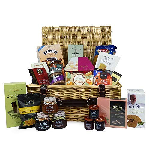 """Gourmet Food """"Pantry Essentials"""" Gift Hamper 24 Items Presented in a Traditional Style Wicker Hamper Basket - Ideas for Christmas, Birthday Presents, Anniversary, Him, Her, Business, Corporate"""