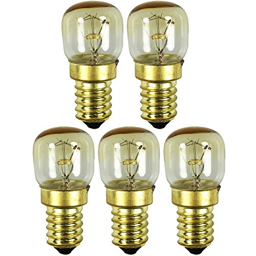 COM-FOUR® Lámpara para horno 5x hasta 300° C, bombilla de luz blanca cálida para estufa 15W, E14, 230V (05 piezas - color oro 15W)