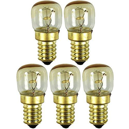 com-four® 5x Backofen-Lampe bis 300° C, warm-weiße Herd-Glühbirne 15W, E14, 230V (05 Stück - 15W goldfarben)