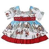 Vestito da Babbo Natale per bambina, festa di Natale, svasato Rosso 3-4 Anni
