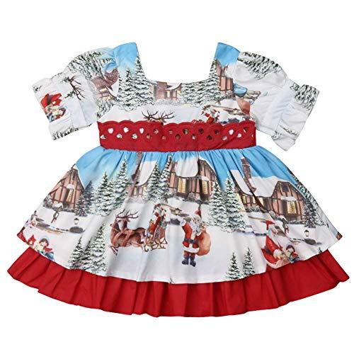 Carolilly Weihnachts-Kleid für Kleinkinder und Mädchen, ausgestellt, für Weihnachten, Festival, Party, Weihnachtsmann Gr. 1-2 Jahre, rot